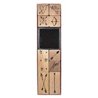 9 sellos de madera con entintador -...