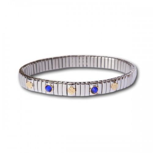 Bracelet pierres bleues et trèfles