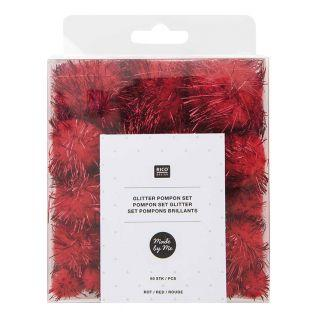 60 pompons brillants rouges
