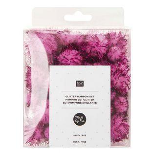 Pompones brillantes x 60 - Rosa