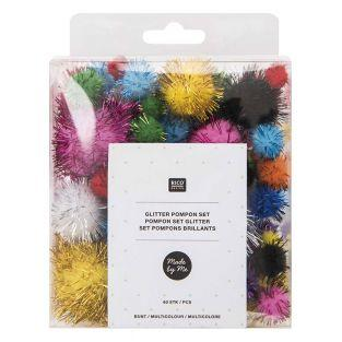 Bright multicolored pompoms x 60