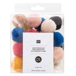 Wool pompoms x 24 - Natural