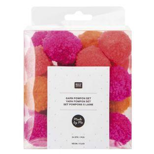 Wool pompoms x 24 - Fluorescent