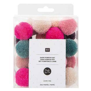 24 pompons en laine teintes...