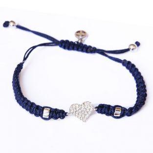 Bracelet bleu nuit tissé à breloque Coeur