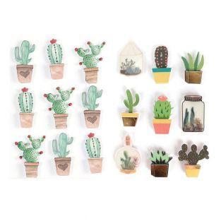 18 stickers 3D Cactus