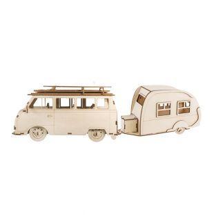 2 3D-Holzmodelle - Wohnmobil & Wohnwagen