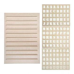 Wooden Letterboard 30 x 42 cm + 216...