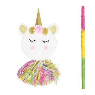 Piñata tête de licorne + bâton