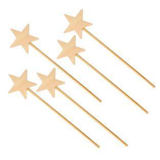 5 wooden magic wands 23 cm