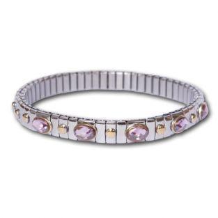 Bracelet métal à maillons 5 pierres rose
