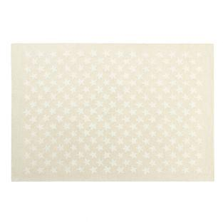 Wool carpet with small Star - beige -...