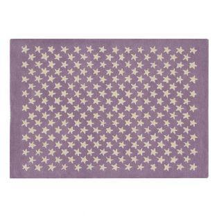 Tapis laine motif petite étoile -...