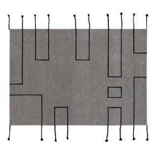 Tapis laine nord lignes - gris clair...