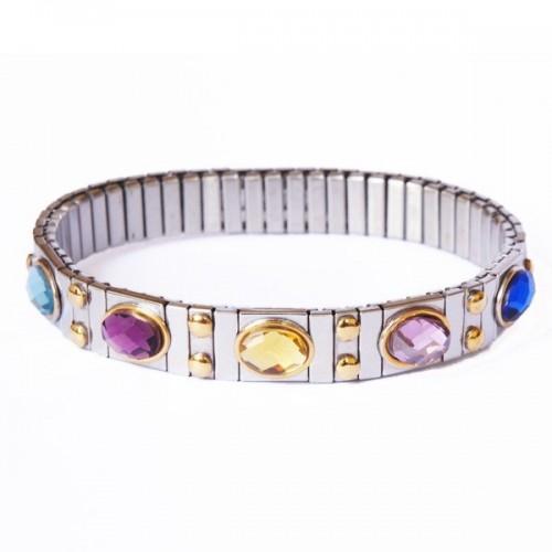 Bracelet à maillons avec pierres colorées & clous dorés