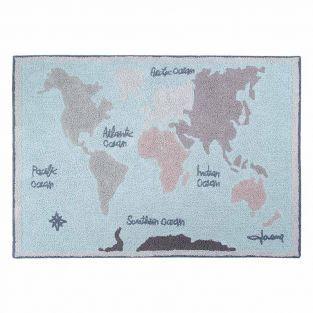 Tapis coton motif carte -...