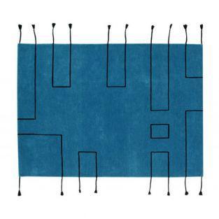 Tapis laine nord lignes - bleu -170 x...