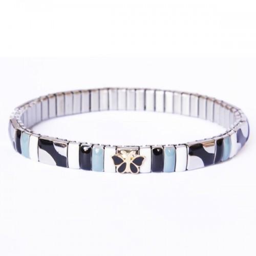 Metal bracelet w/ black butterfly link