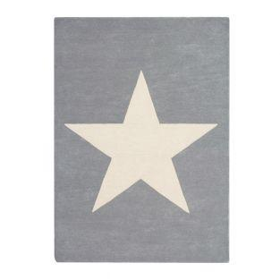 Wool carpet Large star - light gray -...