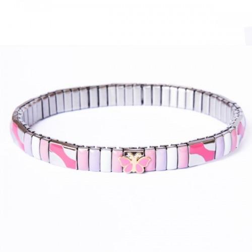 Metal bracelet w/ pink butterfly link