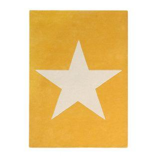 Wool carpet Large star - mustard -...
