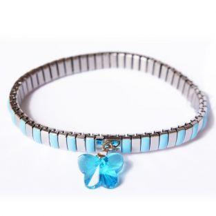 Bracelet métal à maillons papillon bleu