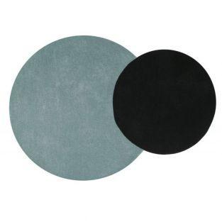 Tapis laine cercle - bleu -...
