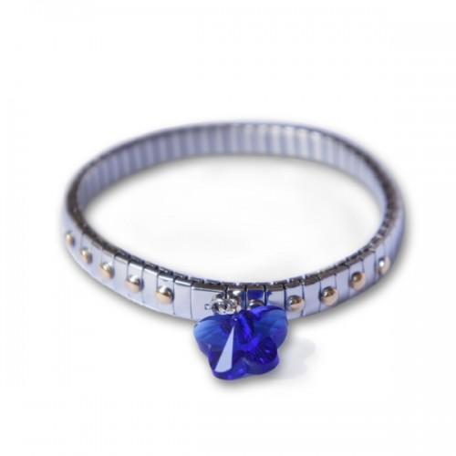 Bracelet métal avec maillon papillon bleu