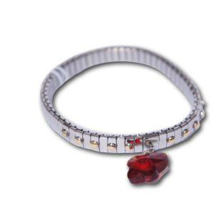 Metal bracelet w/ butterfly red link
