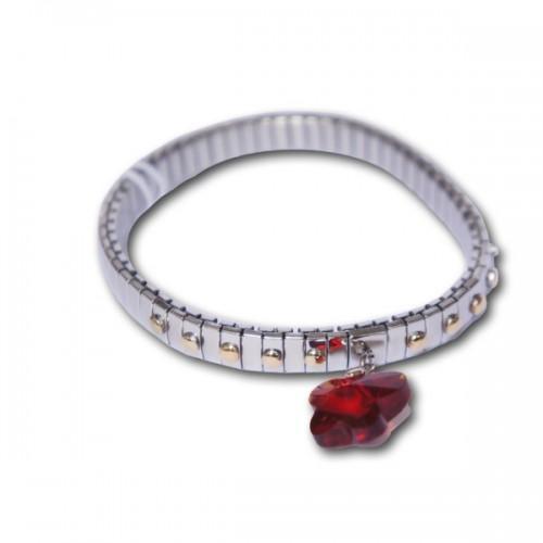 Bracelet métal avec maillon papillon rouge