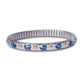 Bracelet métal à maillons 5 pierres bleues