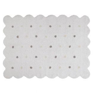 Baumwollteppich in Keksform - weiß -...