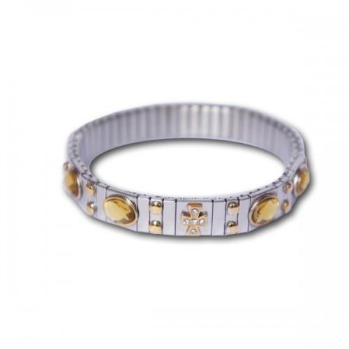 Bracelet métal à maillons Croix + pierres + clous