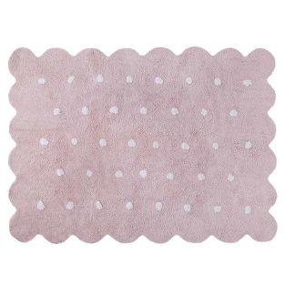 Baumwollteppich in Keksform - rosa -...