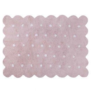 Tapis coton forme biscuit - rose -...