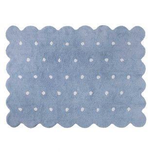 Baumwollteppich in Keksform - blau -...