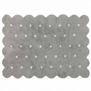 Tapis coton forme biscuit - gris -...
