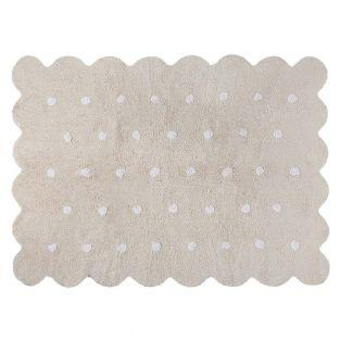 Cotton carpet Biscuit shaped - beige...