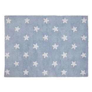 Cotton carpet Star pattern - blue -...