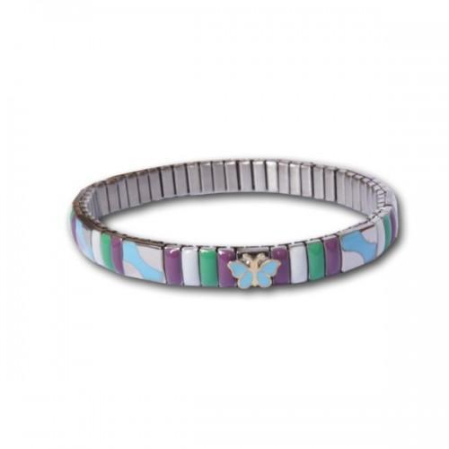 Metal bracelet w/ turquoise butterfly link
