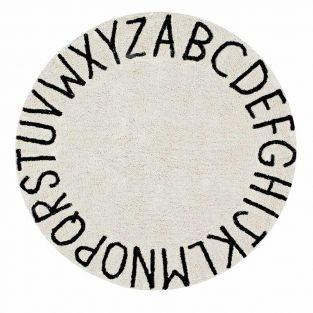 Tapis coton motif alphabet - beige -...