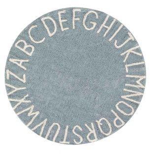 Tapis coton motif alphabet - bleu -...