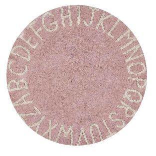 Tapis coton motif alphabet - rose -...