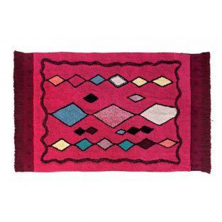 Tapis coton Assa - rose et rouge -...