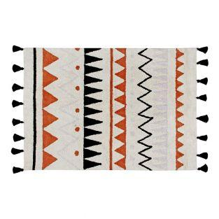 Tapis coton motif indien - rouge -120...