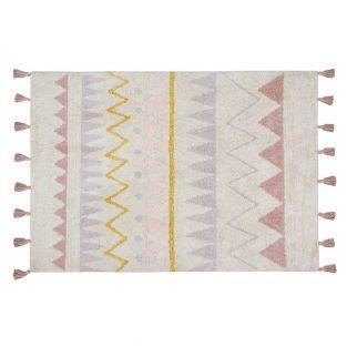 Tapis coton motif indien - beige rose...
