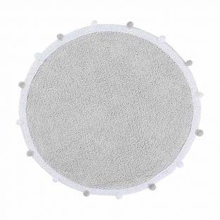 Tapis coton rond Bubble - gris - 120 Ø