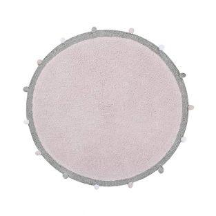 Tapis coton Rond Bubble - rose clair...