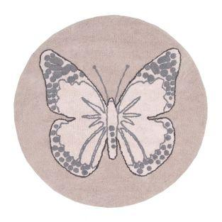 Round Cotton carpet Butterfly - Pink...