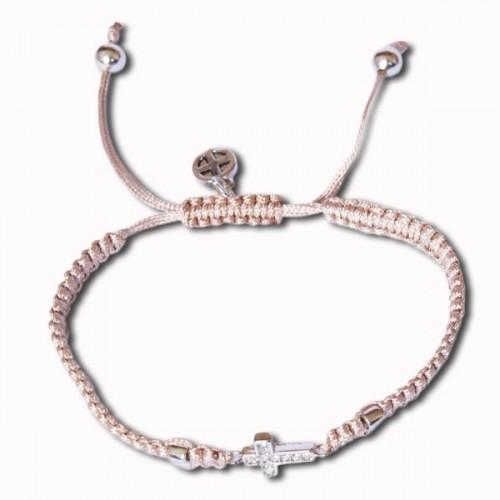 Beige Bracelet w/ Cross